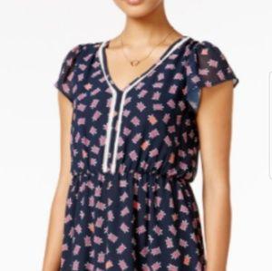 Turtle print dress cap sleeve flowy crotchet sz M